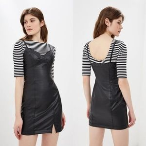 Free People Black Faux Leather Bodycon Dress NEW!